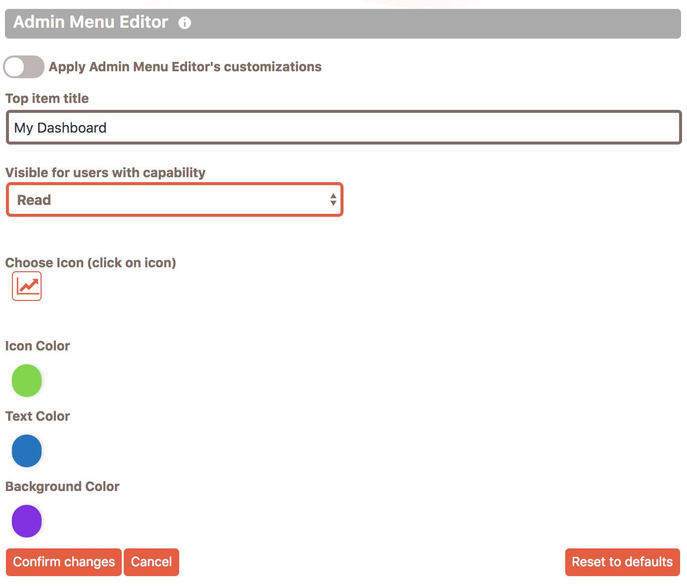 Editing form of a specific top menu item in Cusmin Admin Menu Editor