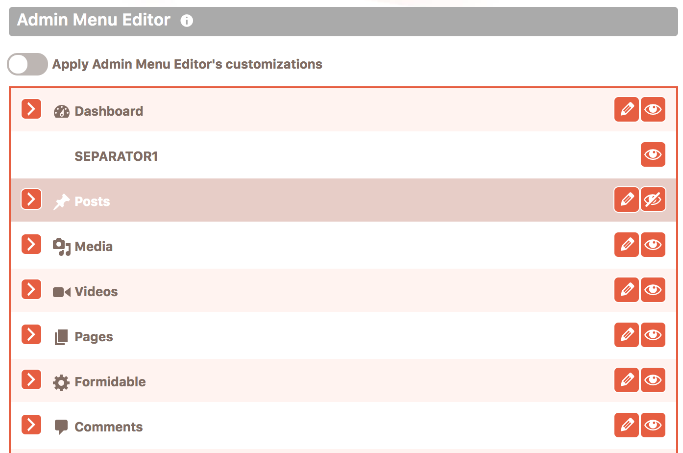 Admin menu editor with the list of menu items in Cusmin