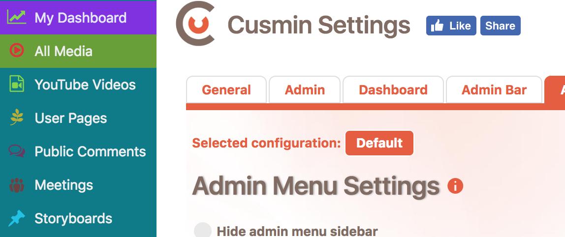 An example of the customized admin menu with Cusmin