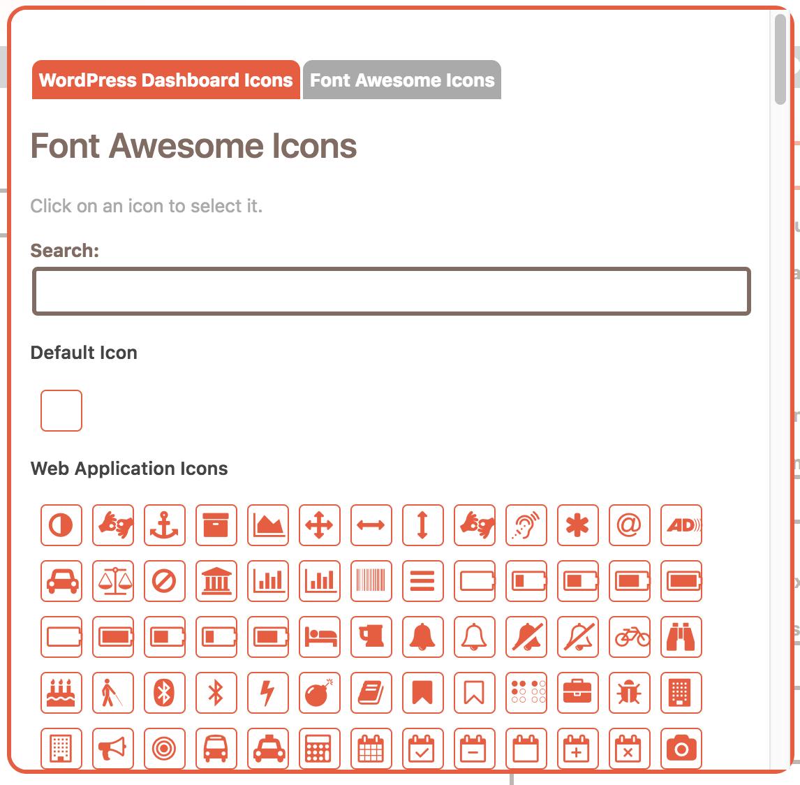 Choose an icon popup for the WordPress admin menu