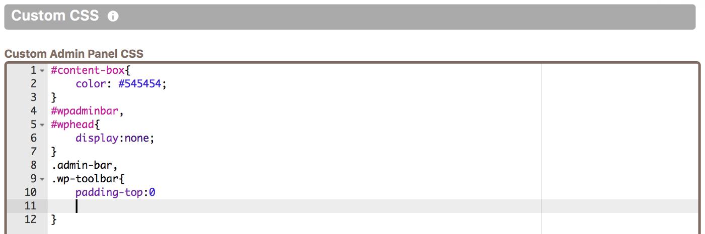 Adding custom dashboard CSS in Cusmin code editor