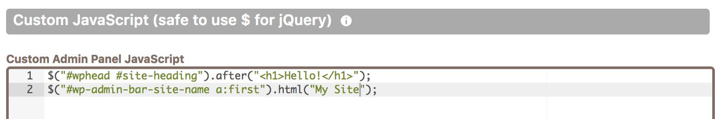 Adding custom JavaScript code in Cusmin code editor