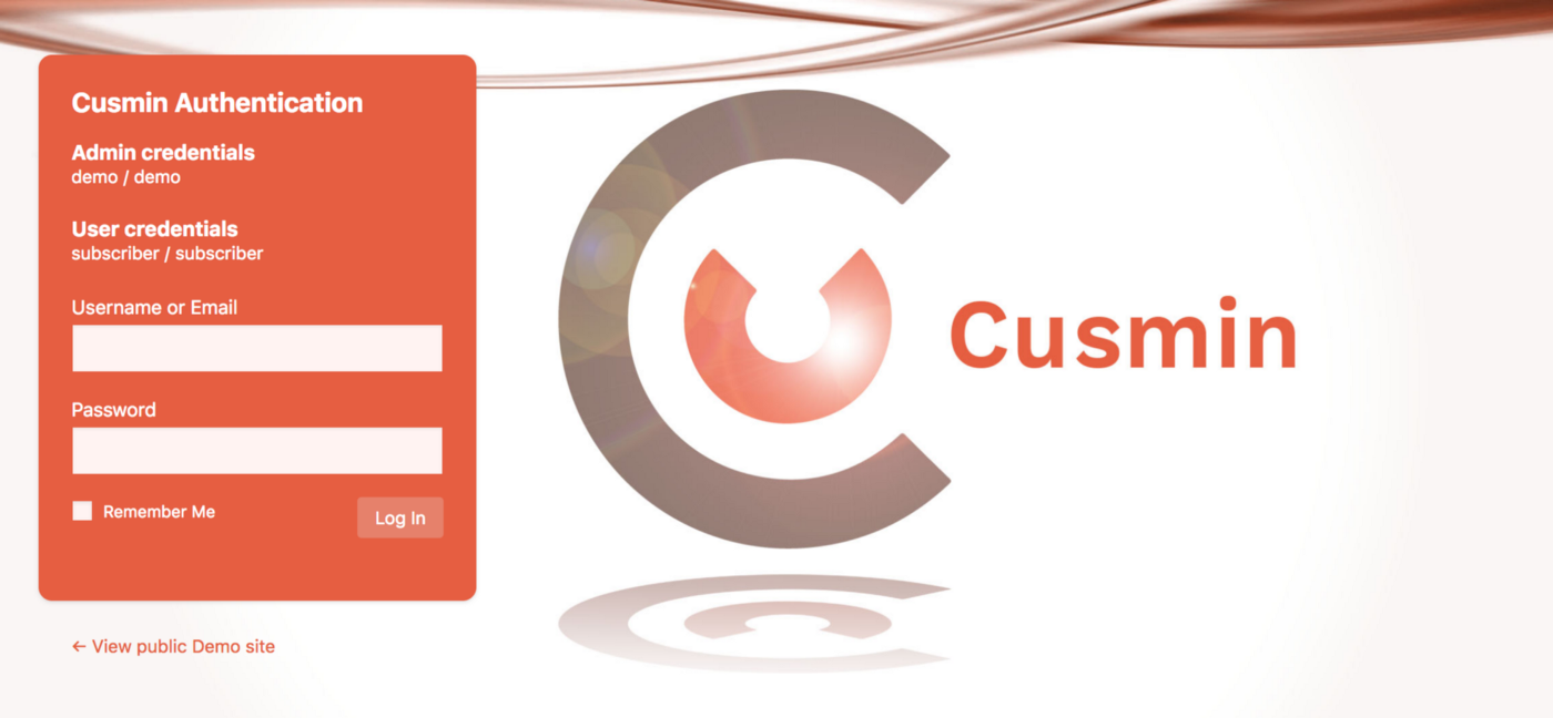 Customized WordPress login page with Cusmin with custom background image, text and colors