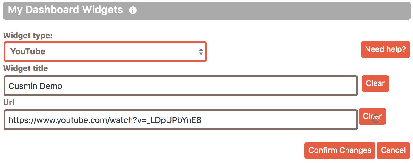 An example of adding custom YouTube widgets in Cusmin