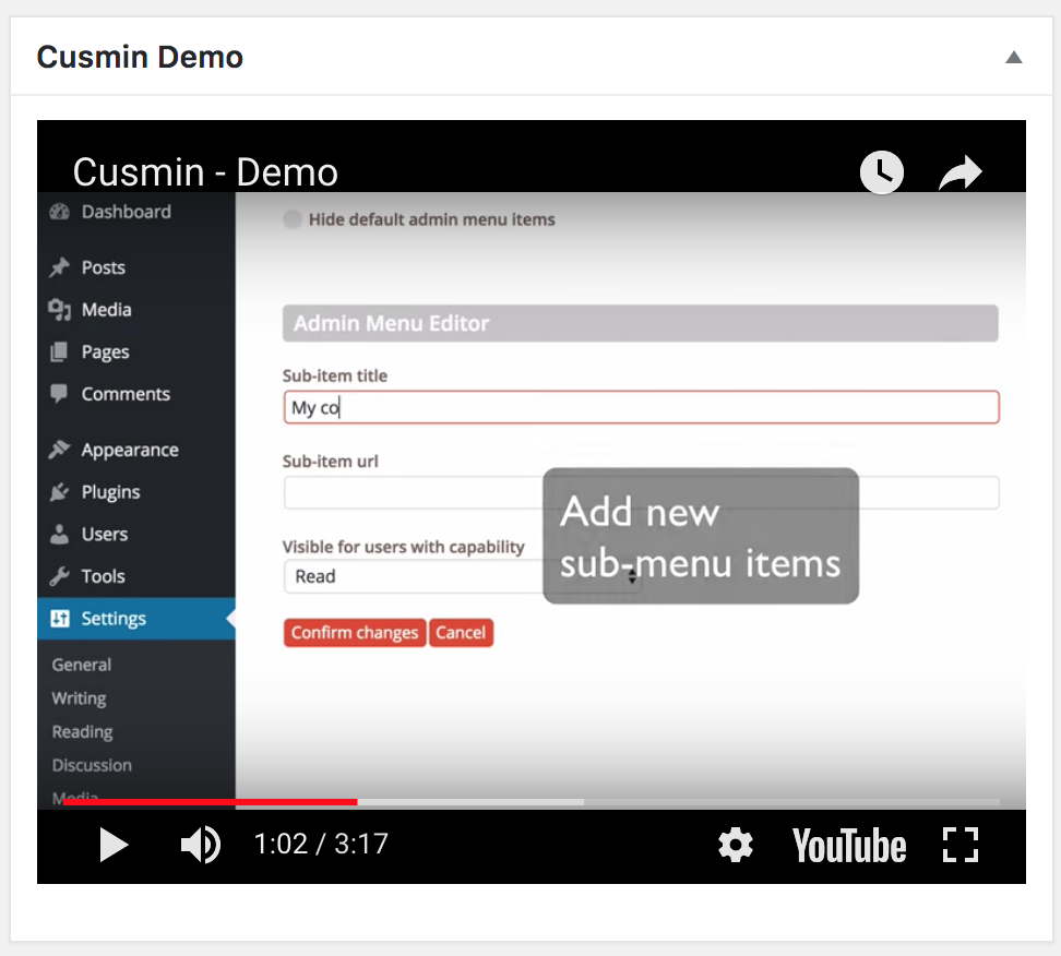 An example of the YouTube widgets made by Cusmin