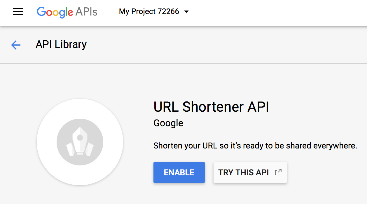 Enable Google URL Shortening API window