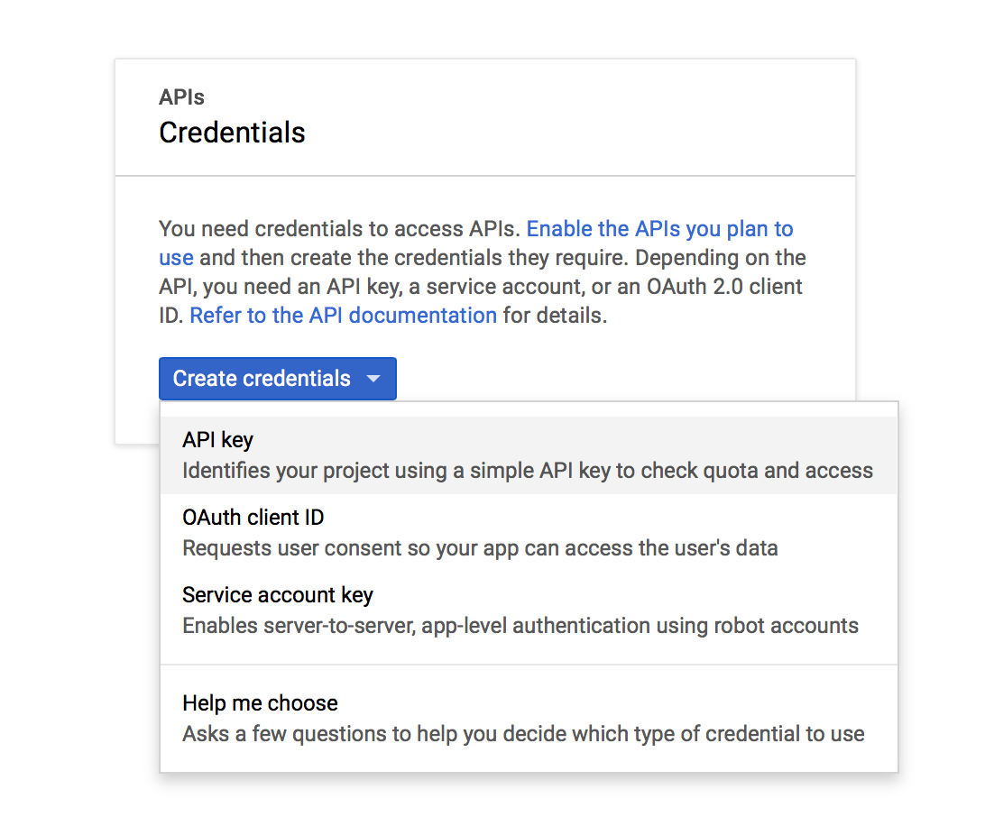 Window for choosing credentials inside Google API