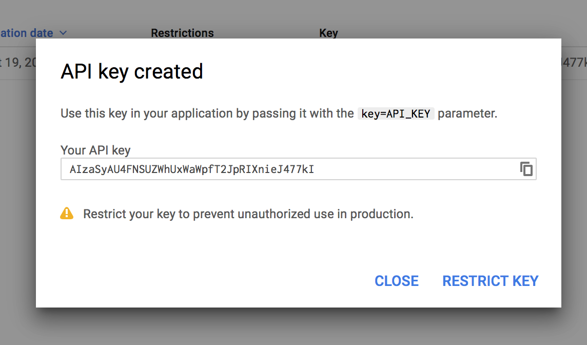 Showing generated URL Shortening API key window
