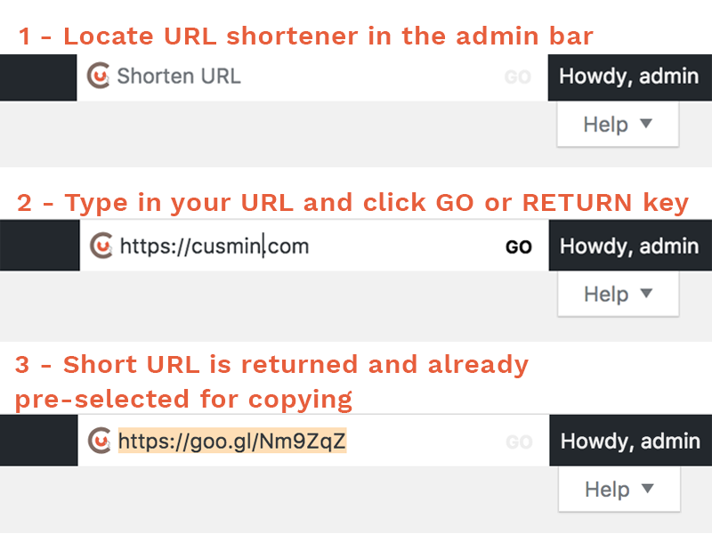 Cusmin URL Shortening tool inside WordPress admin bar