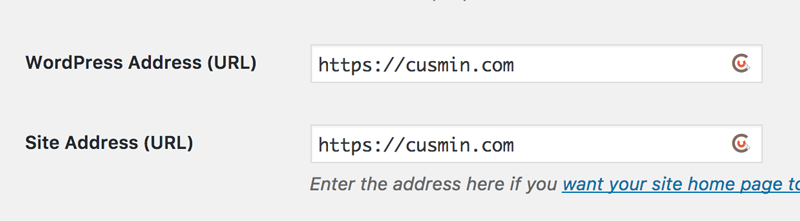 WordPress Settings page showing Cusmin URL Shortening button