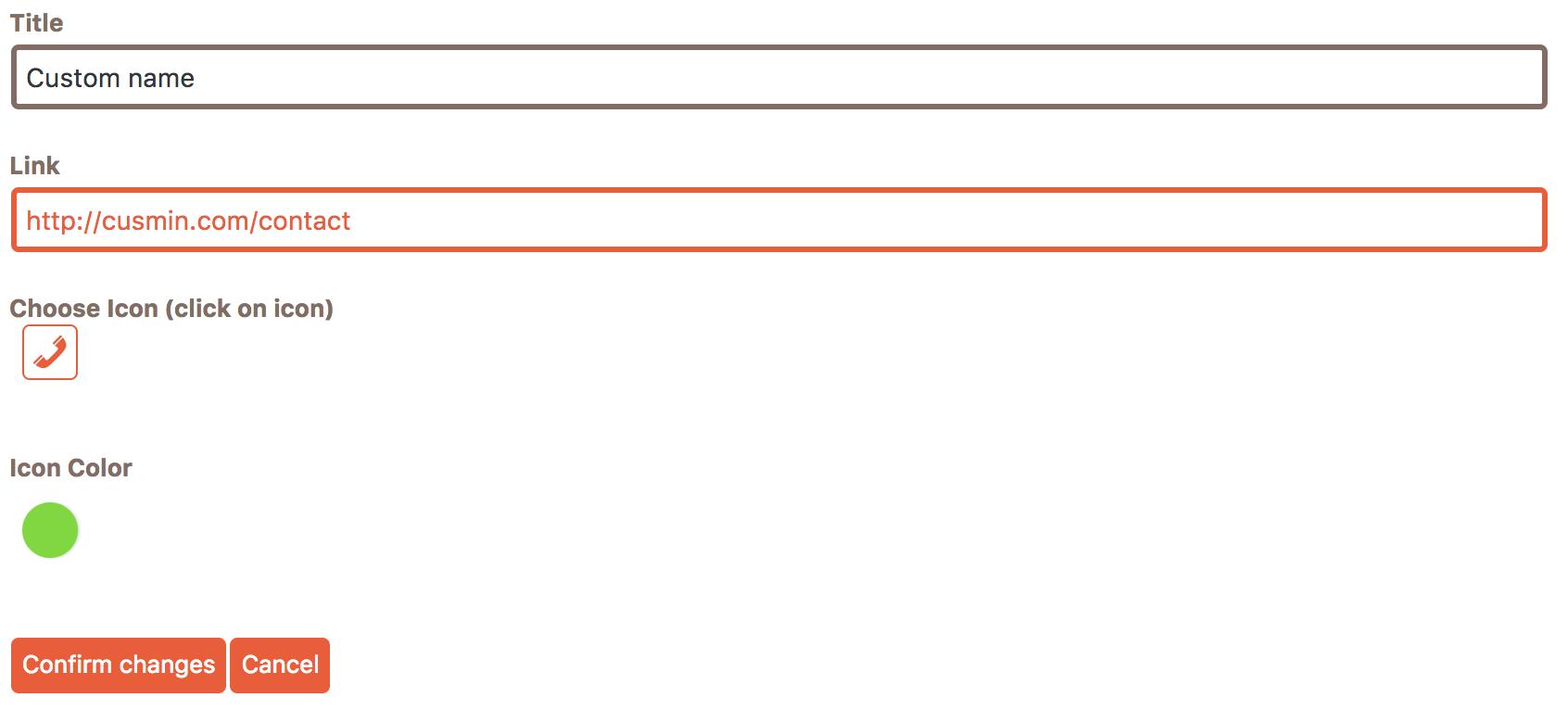 Item editing form of Cusmin admin bar editor
