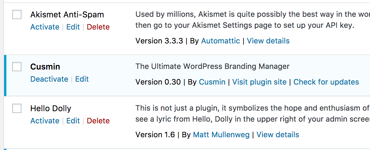 Updating Cusmin from the Plugins page