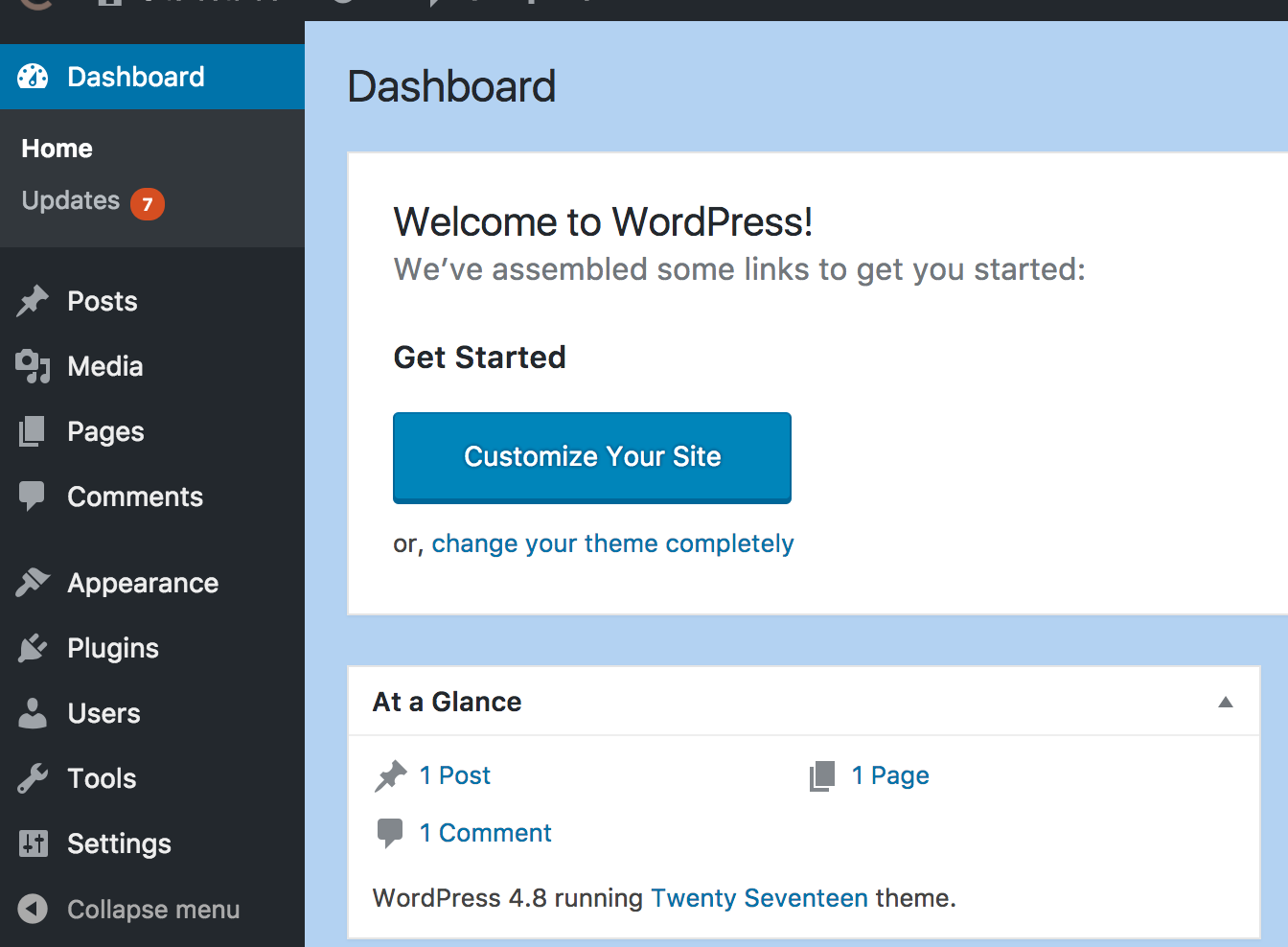Custom background color of the WordPres dashboard made by Cusmin