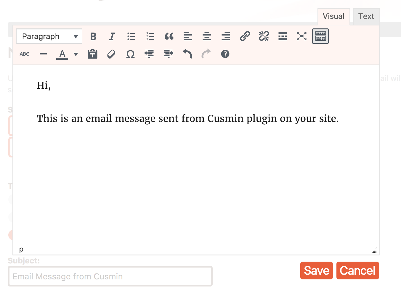 Form options for setting notification type in Cusmin plugin