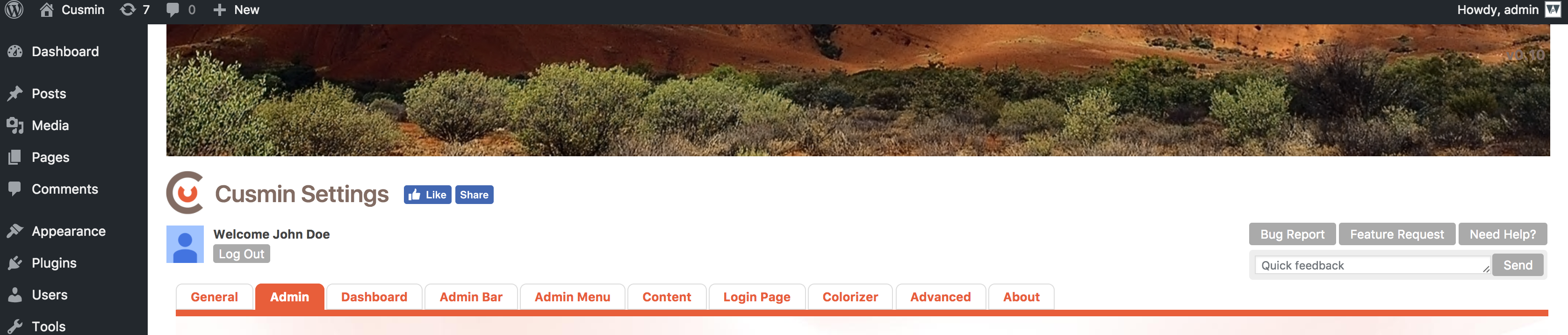 Shows custom image above the content in the admin dashboard