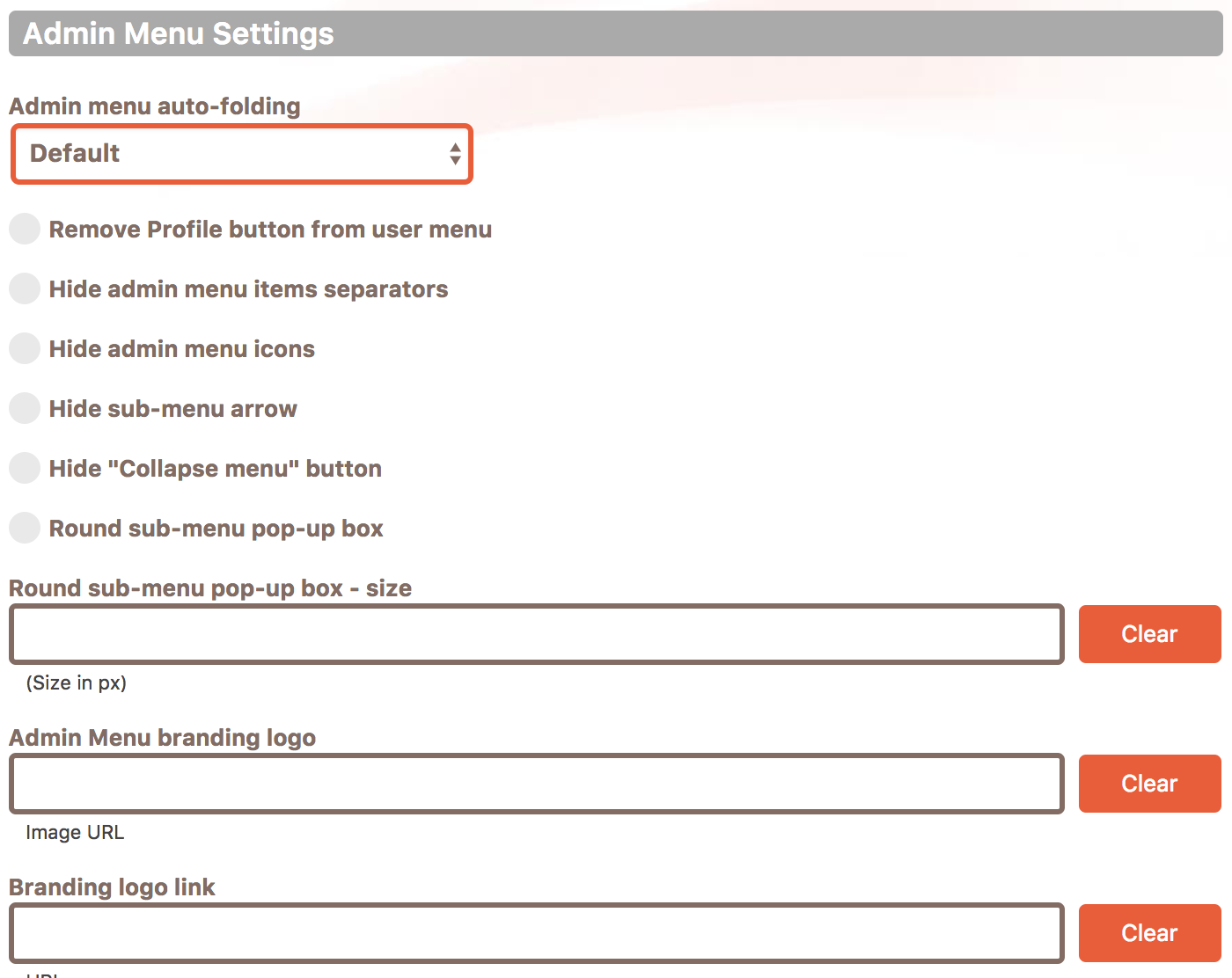 Cusmin Admin Menu Settings