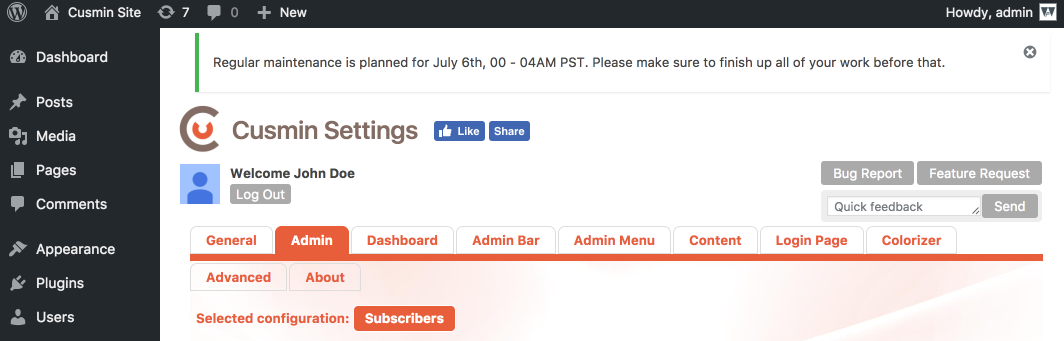 Example of the WordPress info notification made in Cusmin