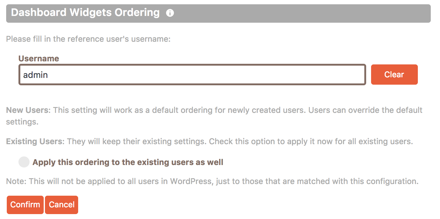 Cusmin options for choosing the user which Dashboard widgets order will be used as a reference for setting widgets order for other users