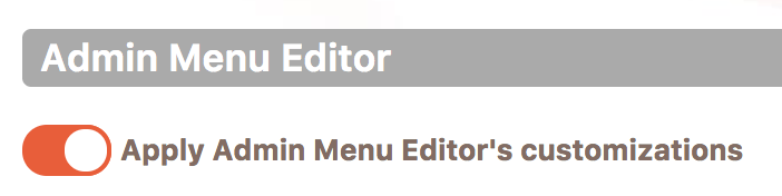 Toggle button for admin menu customizations in Cusmin