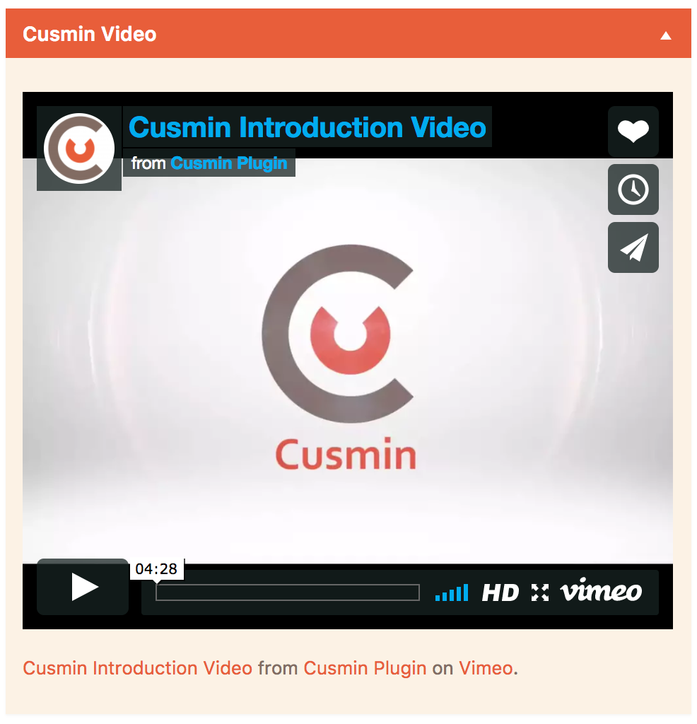 Vimeo Dashboard Widget Example