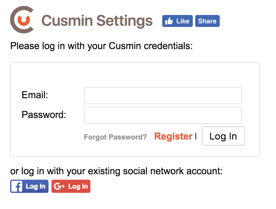 Cusmin login form