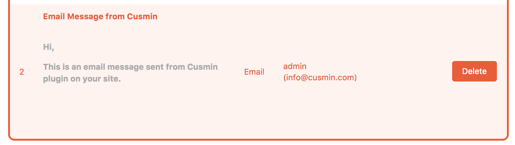Example of the full email notification set in Cusmin before sending