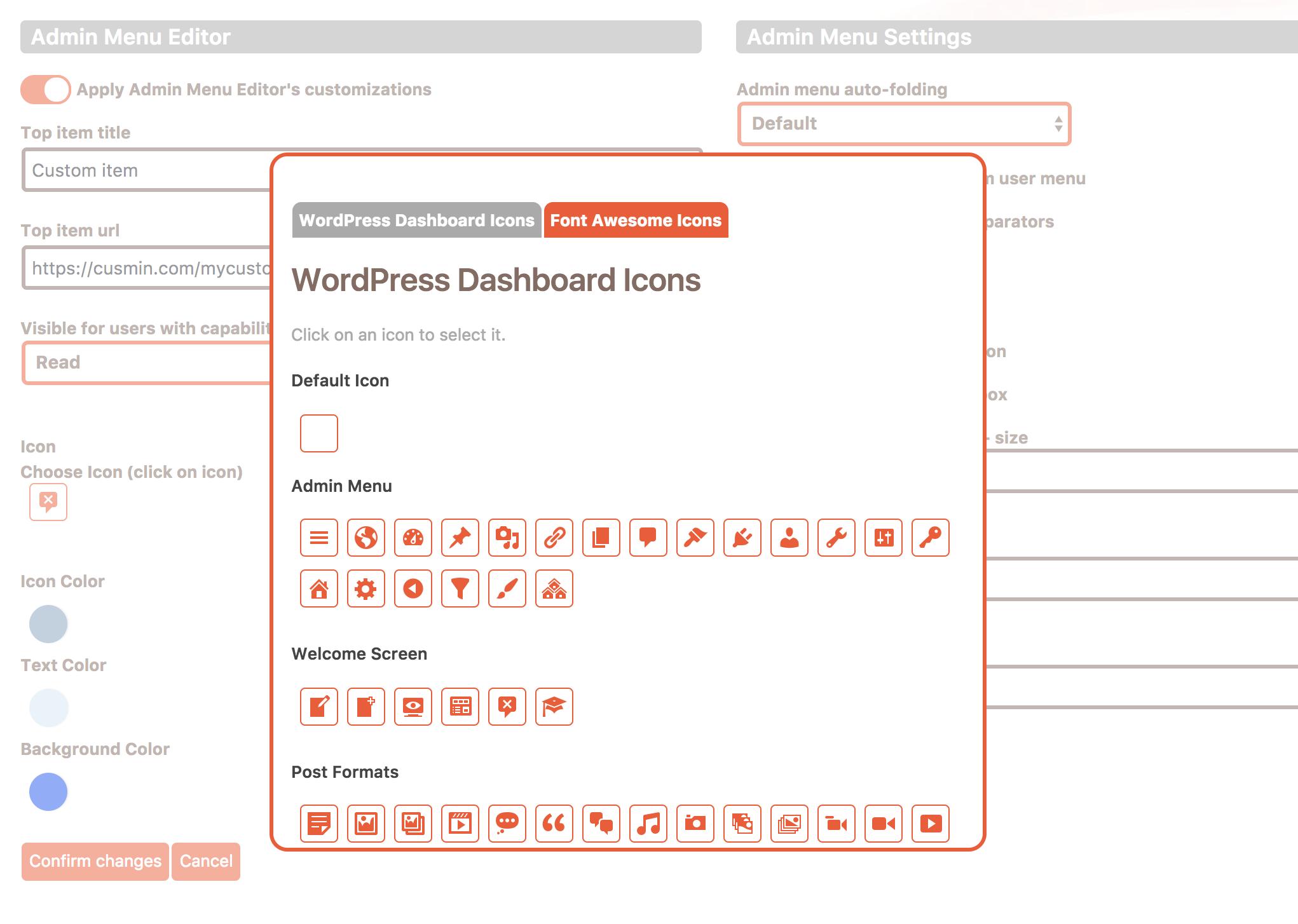Icon picker popup window in Cusmin menu editor