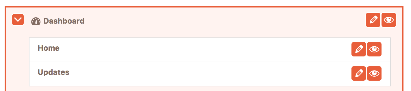 Buttons for hiding menu items in the Cusmin admin menu editor