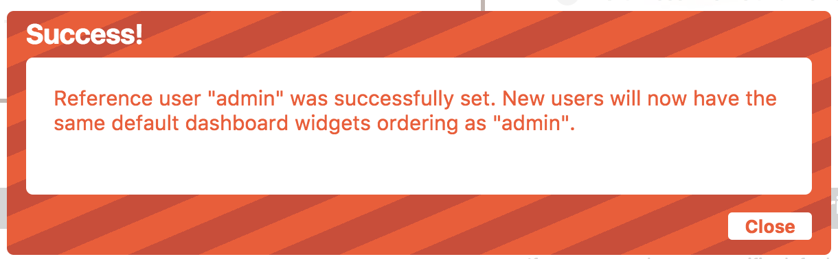 Success message shows up when an order is set successfully