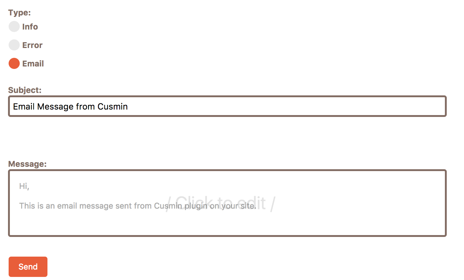 Editing email notification message inside Cusmin text editor