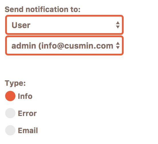 Form for setting the notification type of the WordPress admin notifications in Cusmin plugin