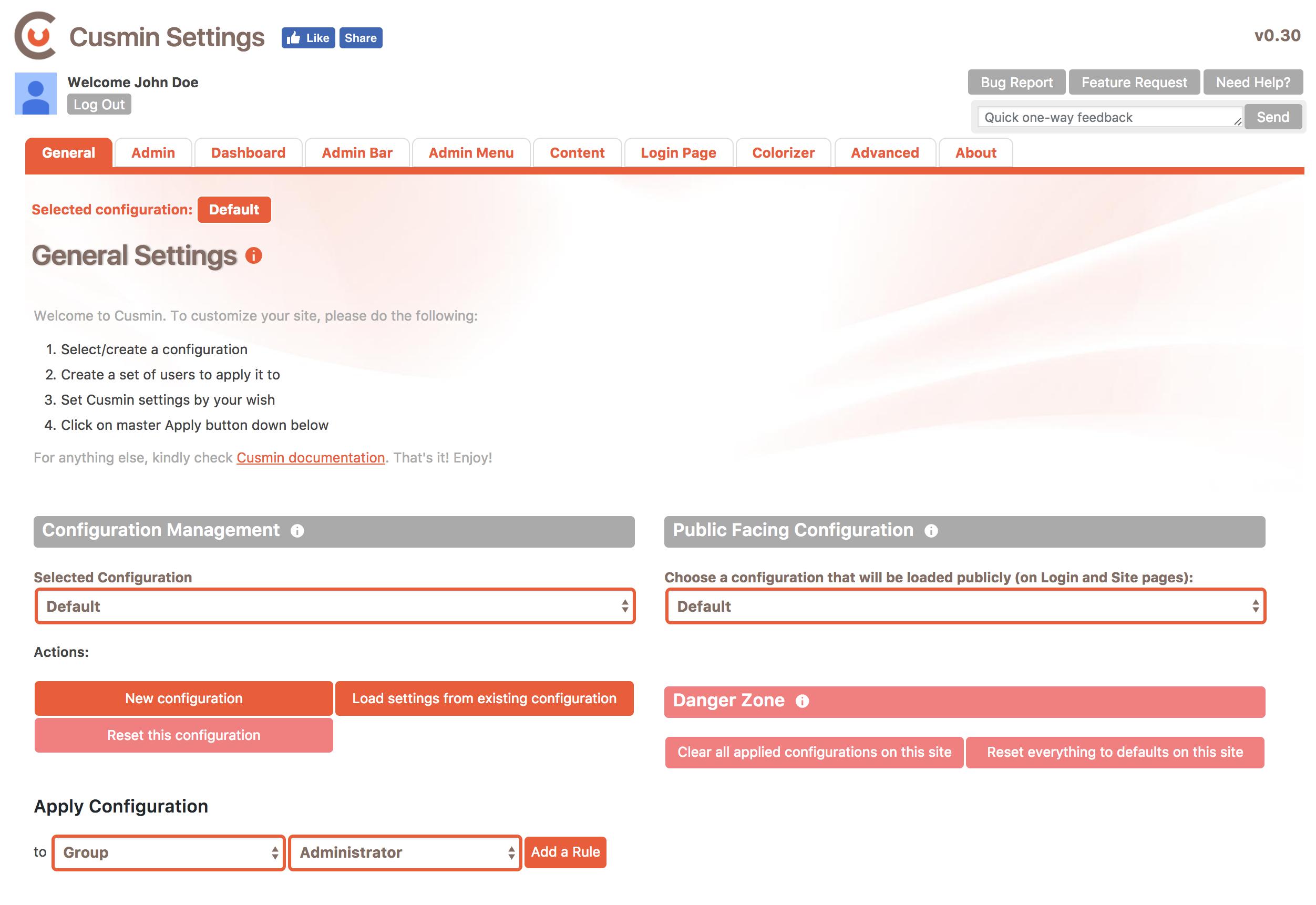 Cusmin Settings Page showing General tab settings