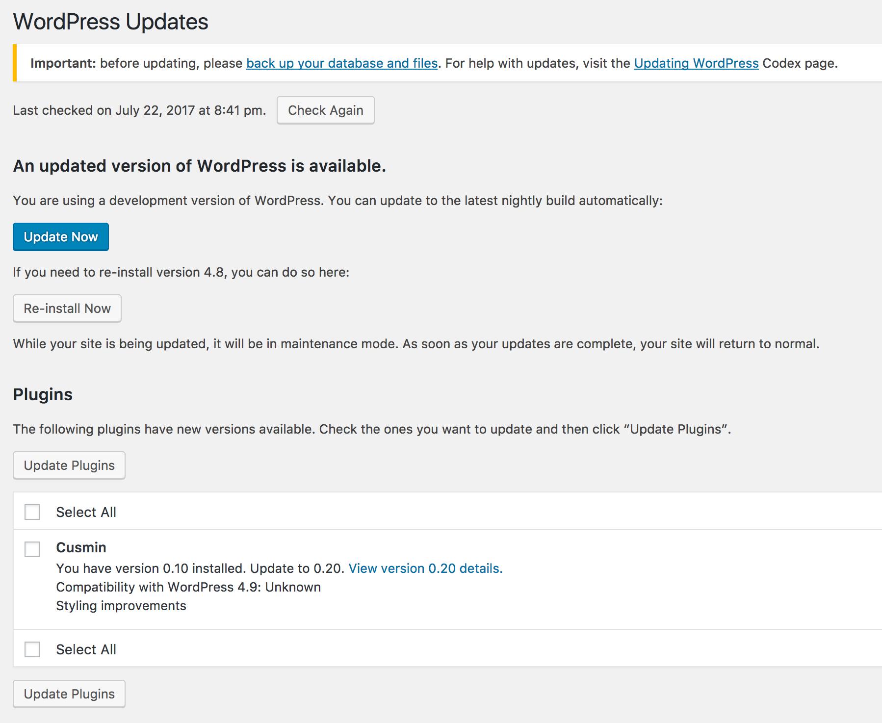 WordPress Updates page showing Cusmin update option