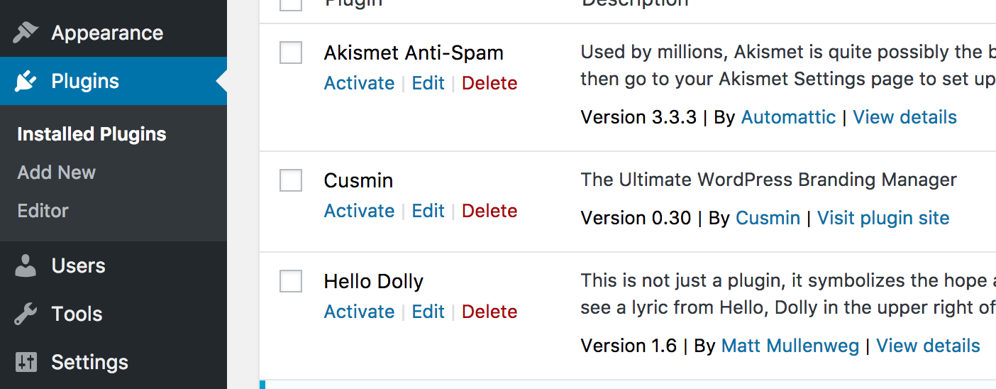 WordPress plugins page with Cusmin plugin showing on the page