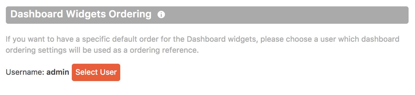Cusmin option for setting the custom WordPress dashboard widgets order