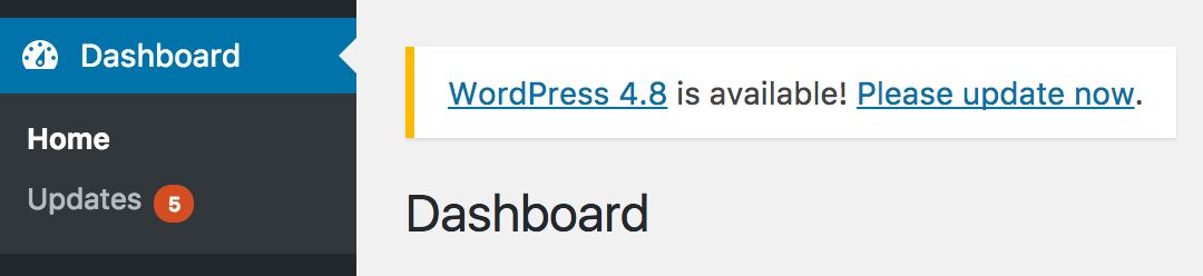 WordPress update notification showing above the Dashboard heading in the admin dashboard