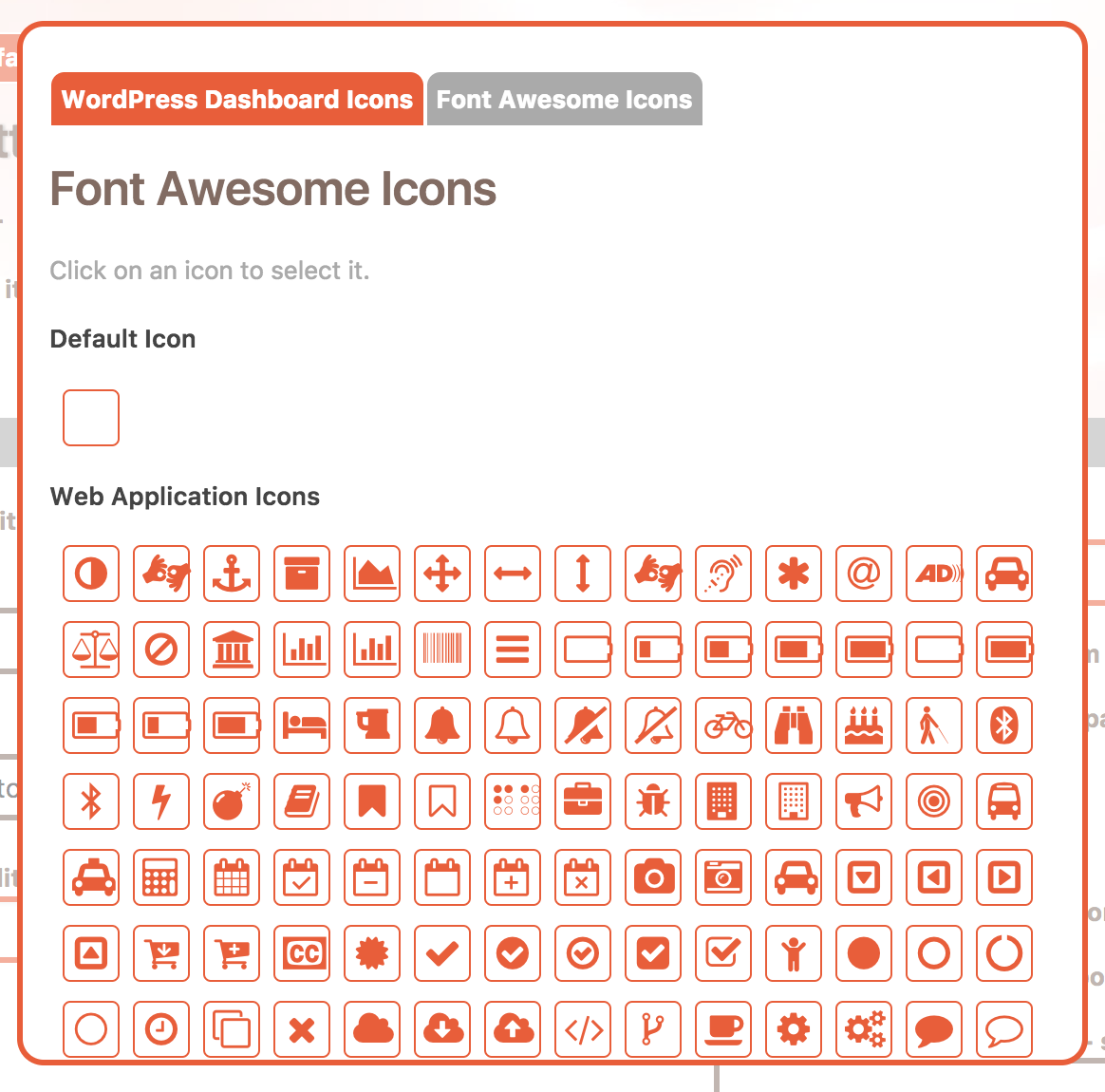 Font Awesome icons in the Cusmin icon picker