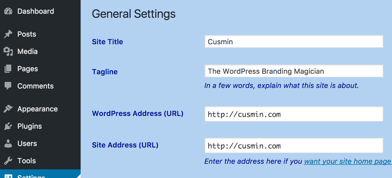 Custom text color in the WordPress admin made by Cusmin