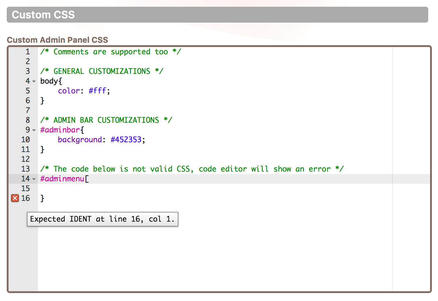 Cusmin code editor showing custom CSS with the syntax highlighting
