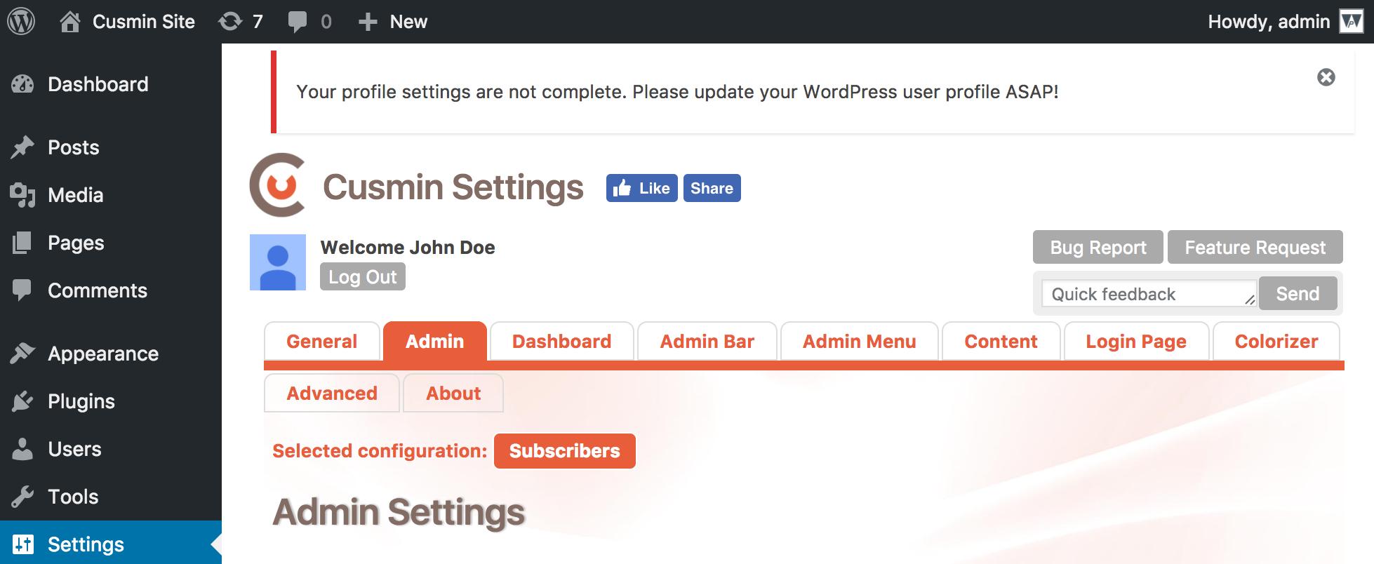 Example of the WordPress error notification made in Cusmin plugin