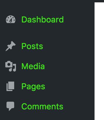 Custom admin menu buttons text color