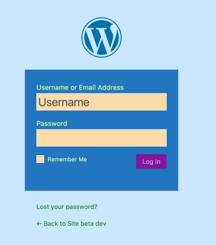 Custom WordPress login form with custom colors made by Cusmin