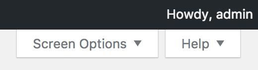 WordPress Screen Options and Help menu dropdown options