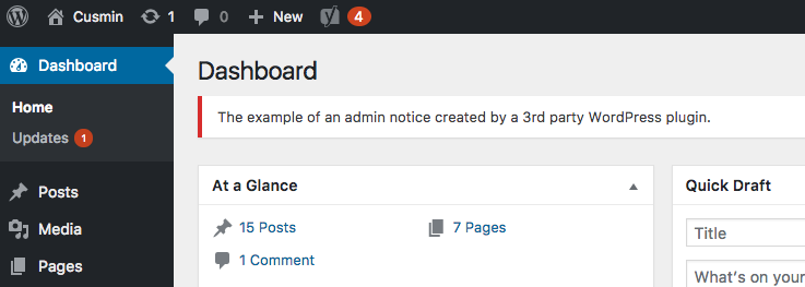 WordPress Admin notification error example showing above the content in the admin dashboard